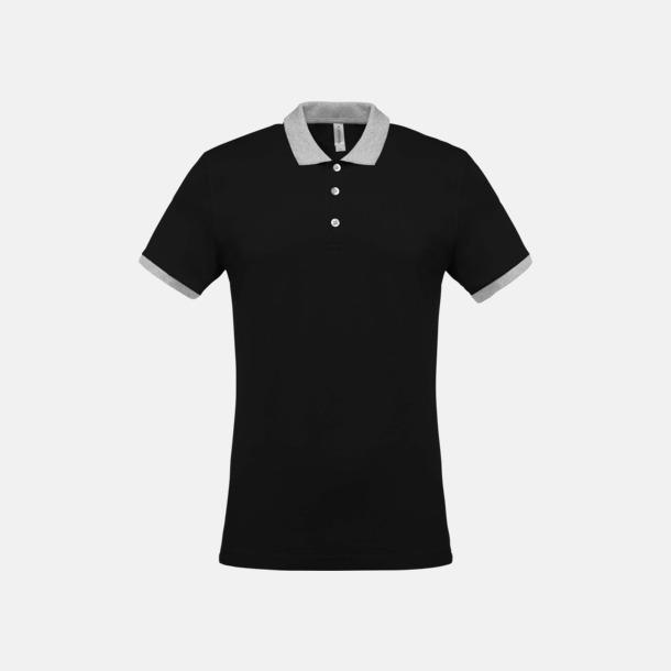 Svart/Oxford Grey (herr) 2-färgade pikéer med reklamtryck