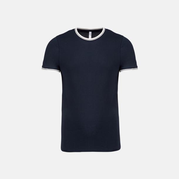 Marinblå/Off White (herr) Unika bomulls t-shirts med reklamtryck