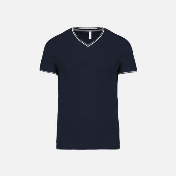 Marinblå/Ljusgrå/Vit (herr) Unika bomulls t-shirts med reklamtryck