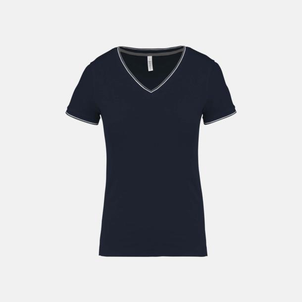 Marinblå/Ljusgrå/Vit (dam) Unika bomulls t-shirts med reklamtryck