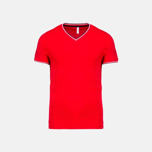 Röd/Marinblå/Vit (herr) Unika bomulls t-shirts med reklamtryck