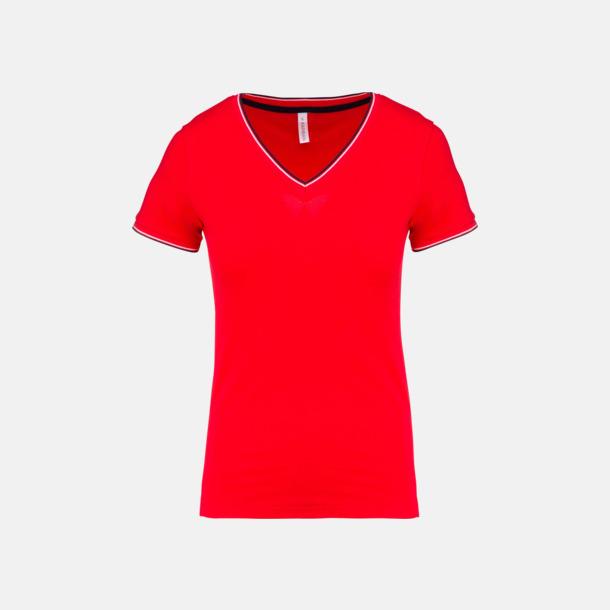 Röd/Marinblå/Vit (dam) Unika bomulls t-shirts med reklamtryck