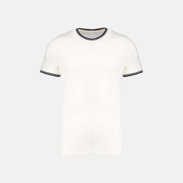 Off White/Marinblå (herr) Unika bomulls t-shirts med reklamtryck