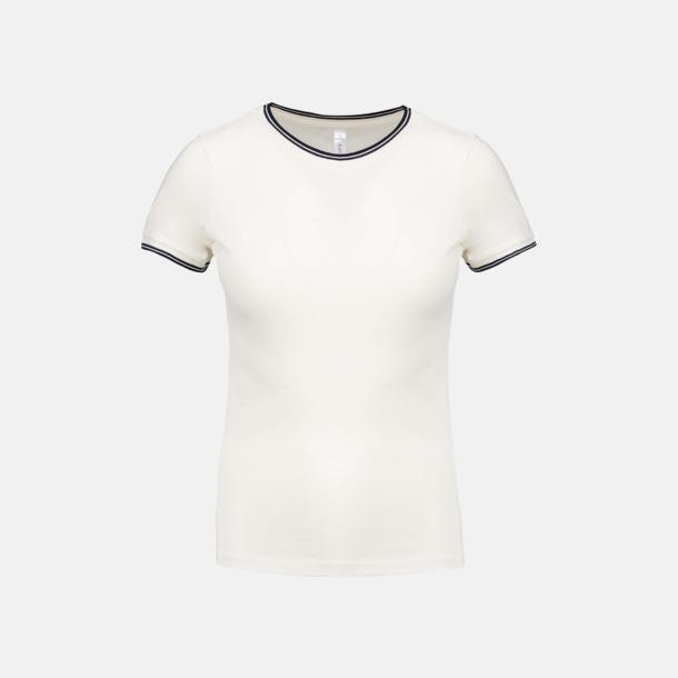 Off White/Marinblå (dam) Unika bomulls t-shirts med reklamtryck