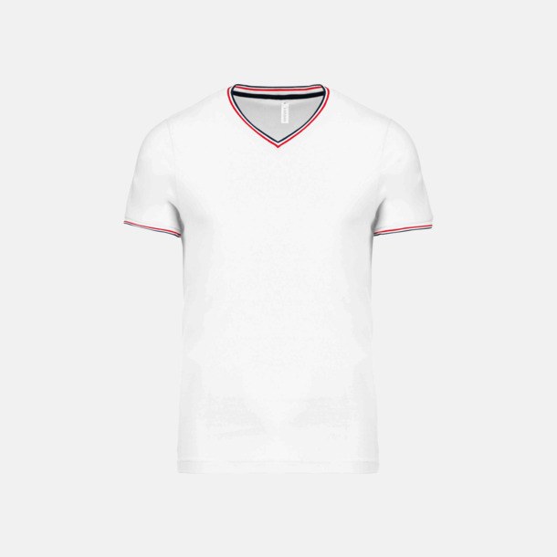 Vit/Marinblå/Röd (herr) Unika bomulls t-shirts med reklamtryck