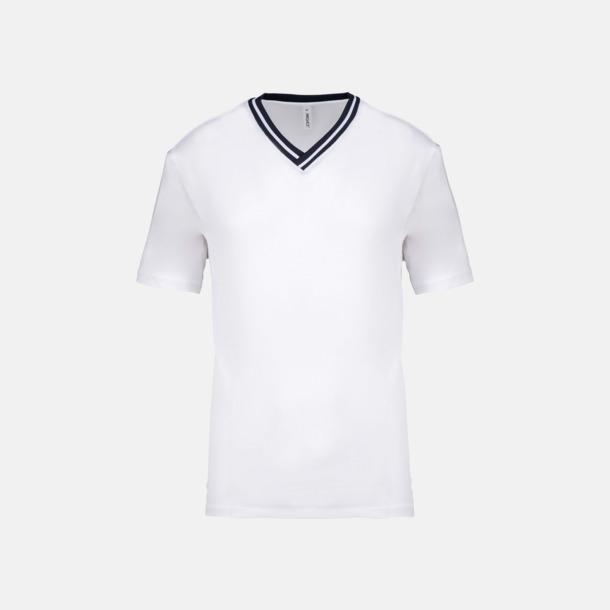 Vit / Marinblå Unisex funktions t-shirts med reklamtryck