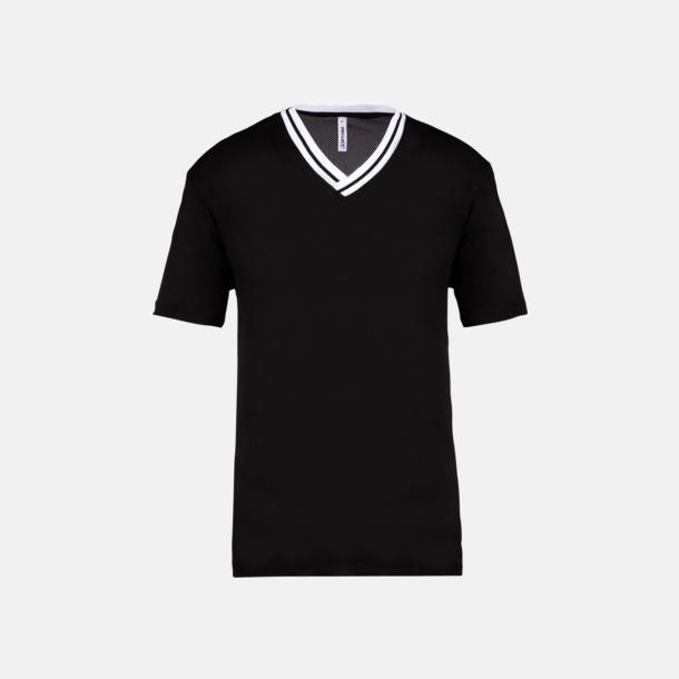 Svart / Vit Unisex funktions t-shirts med reklamtryck
