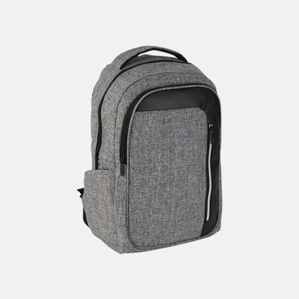 Grå Laptopryggsäckar med RFID-blockeringsteknik - med reklamtryck