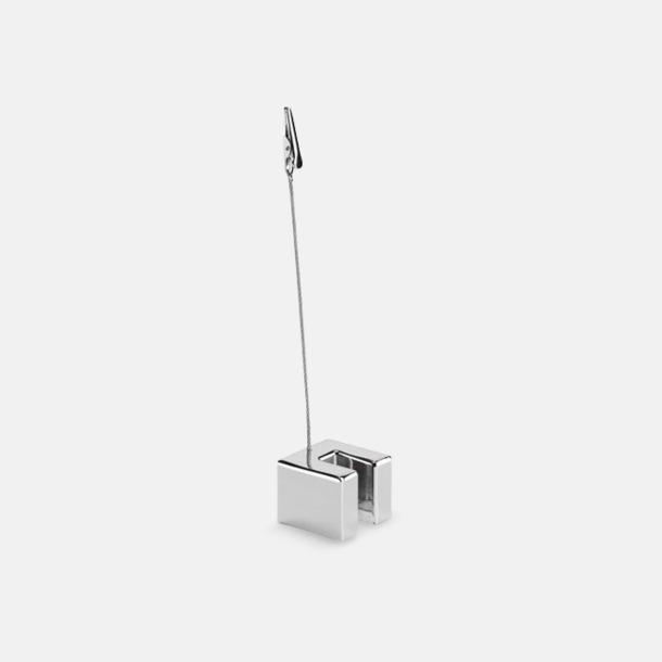 Silver Memohållare med ställ för kort och mobil - med reklamtryck
