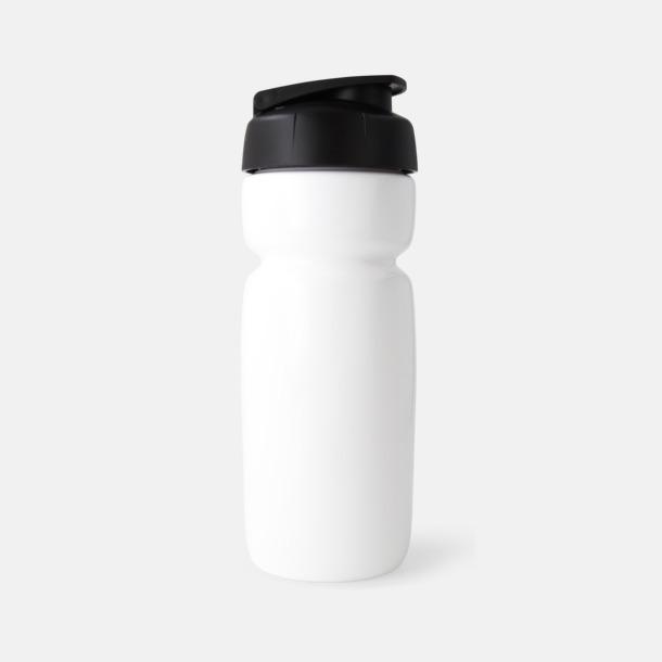 Solid Vit (flaska)/Svart (kork) Sportiga vattenflaskor med flipkapsyl med reklamtryck