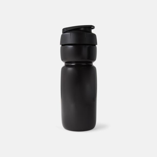Solid Svart (flaska)/Svart (kork) Sportiga vattenflaskor med flipkapsyl med reklamtryck