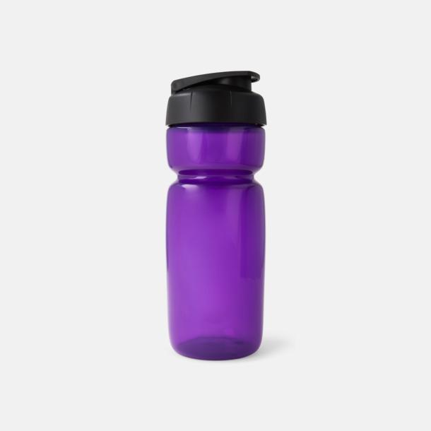 Lila Transparent (flaska)/Svart (kork) Sportiga vattenflaskor med flipkapsyl med reklamtryck