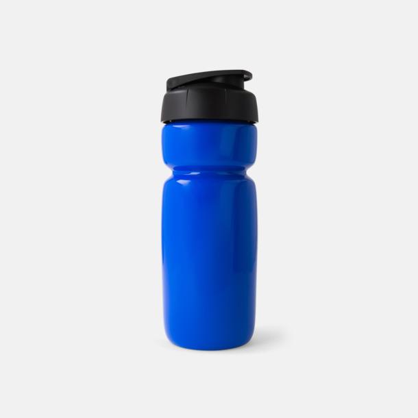 Solid Blå (flaska)/Svart (kork) Sportiga vattenflaskor med flipkapsyl med reklamtryck