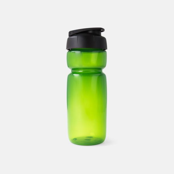Grön Transparent (flaska)/Svart (kork) Sportiga vattenflaskor med flipkapsyl med reklamtryck