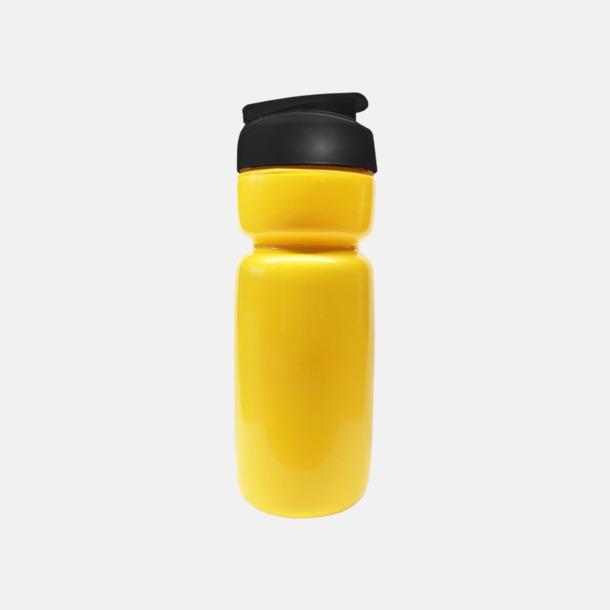 Solid Gul (flaska)/Svart (kork) Sportiga vattenflaskor med flipkapsyl med reklamtryck