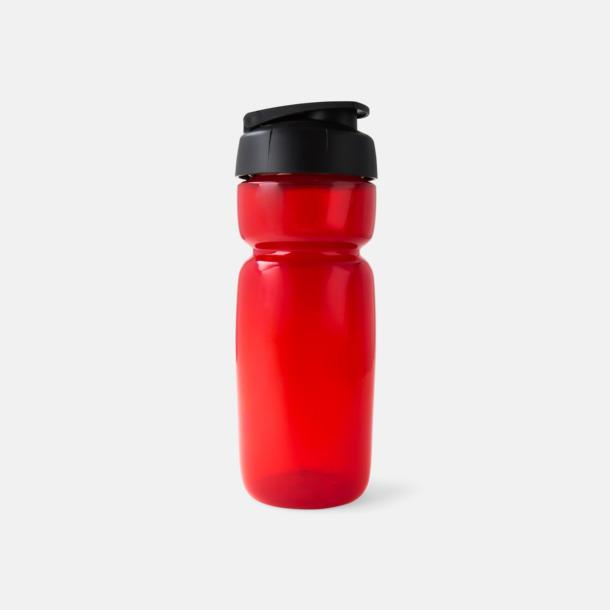 Röd Transparent (flaska)/Svart (kork) Sportiga vattenflaskor med flipkapsyl med reklamtryck