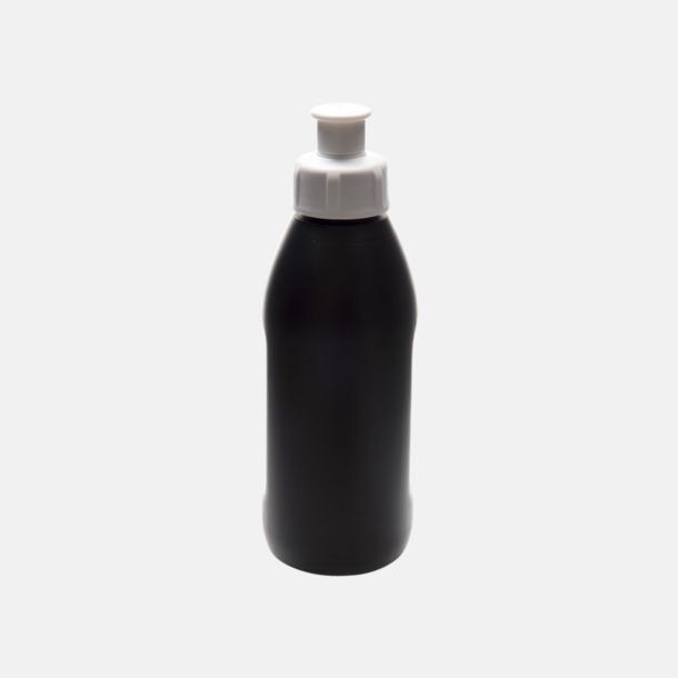 Svart flaska/Vit kork Små vattenflaskor (30 cl) med reklamtryck