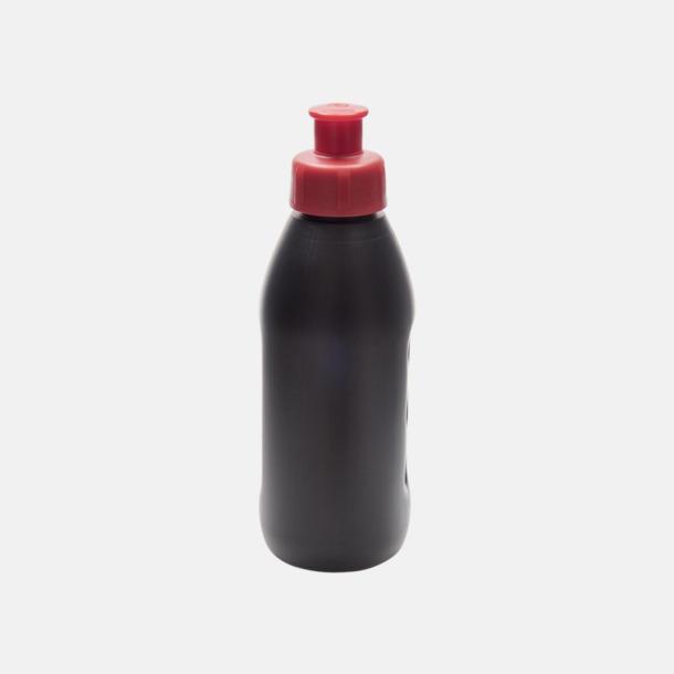 Svart flaska/Röd kork (PMS 485) Små vattenflaskor (30 cl) med reklamtryck