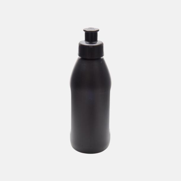 Svart flaska/Svart kork Små vattenflaskor (30 cl) med reklamtryck