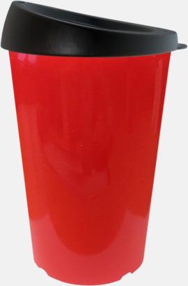 Röd 33 cl take away-muggar med reklamtryck