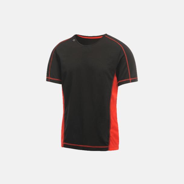 Svart/Classic Red (herr) 2-färgade funktions t-shirts med reklamtryck
