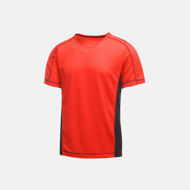Classic Red/Svart (herr) 2-färgade funktions t-shirts med reklamtryck