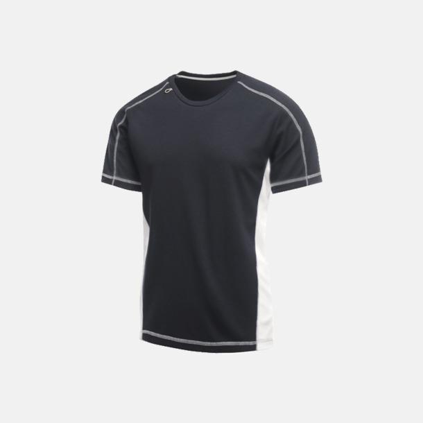 Marinblå/Vit (herr) 2-färgade funktions t-shirts med reklamtryck