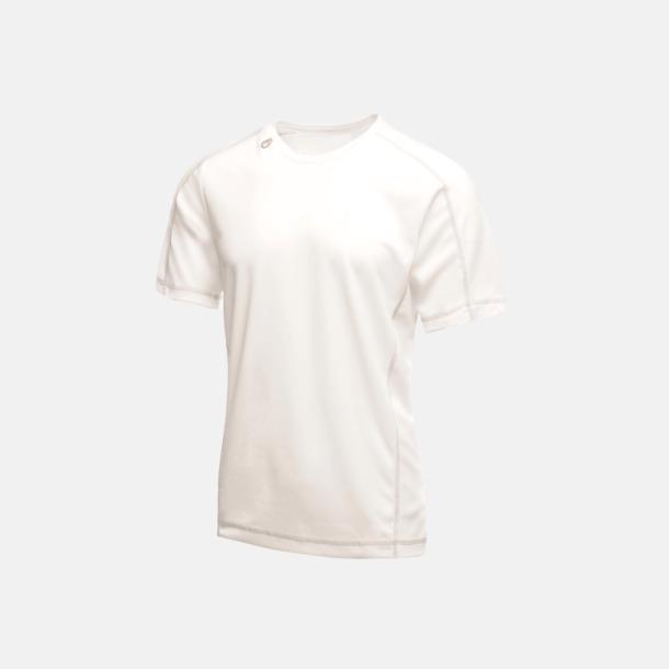 Vit (herr) 2-färgade funktions t-shirts med reklamtryck