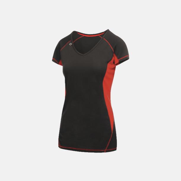 Svart/Classic Red (dam) 2-färgade funktions t-shirts med reklamtryck