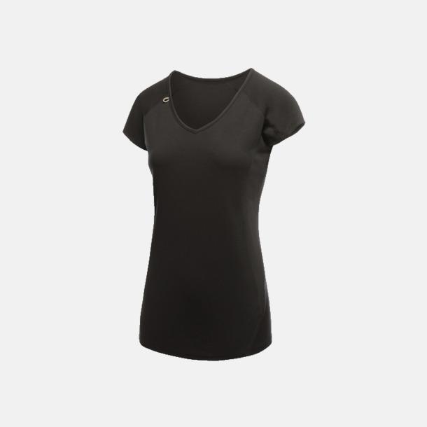 Svart (dam) 2-färgade funktions t-shirts med reklamtryck