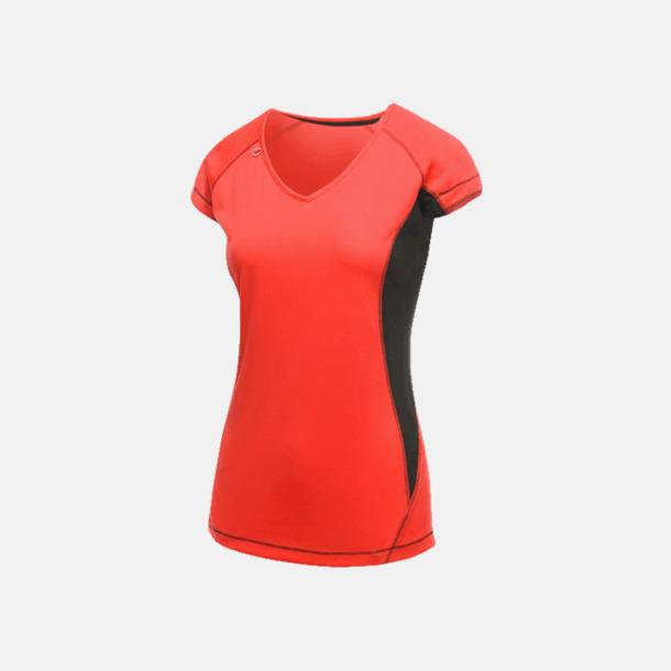 Classic Red/Svart (dam) 2-färgade funktions t-shirts med reklamtryck