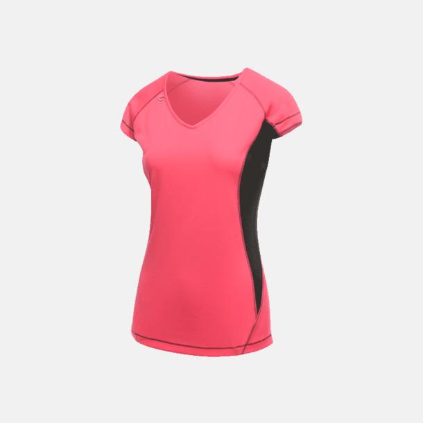 Hot Pink/Svart (dam) 2-färgade funktions t-shirts med reklamtryck