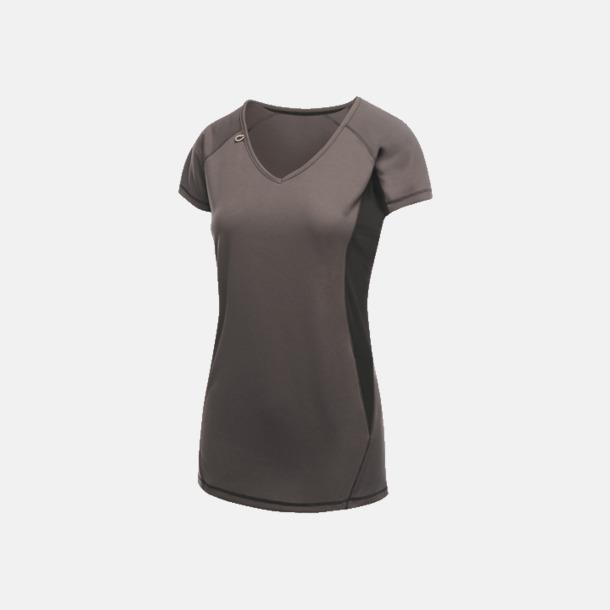 Iron/Svart (dam) 2-färgade funktions t-shirts med reklamtryck