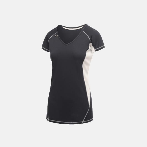 Marinblå/Vit (dam) 2-färgade funktions t-shirts med reklamtryck