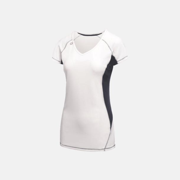 Vit/Marinblå (dam) 2-färgade funktions t-shirts med reklamtryck