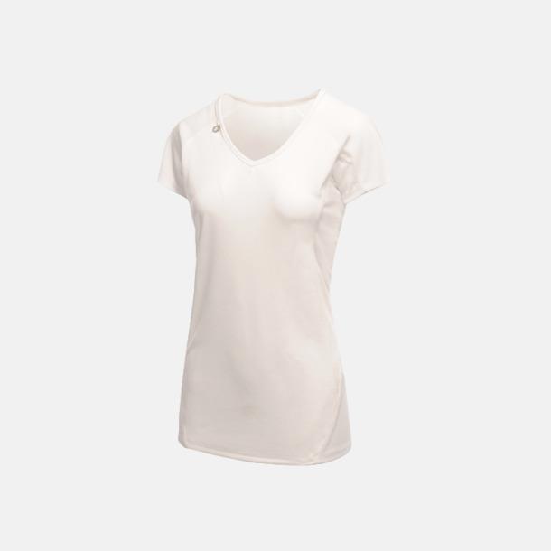 Vit (dam) 2-färgade funktions t-shirts med reklamtryck