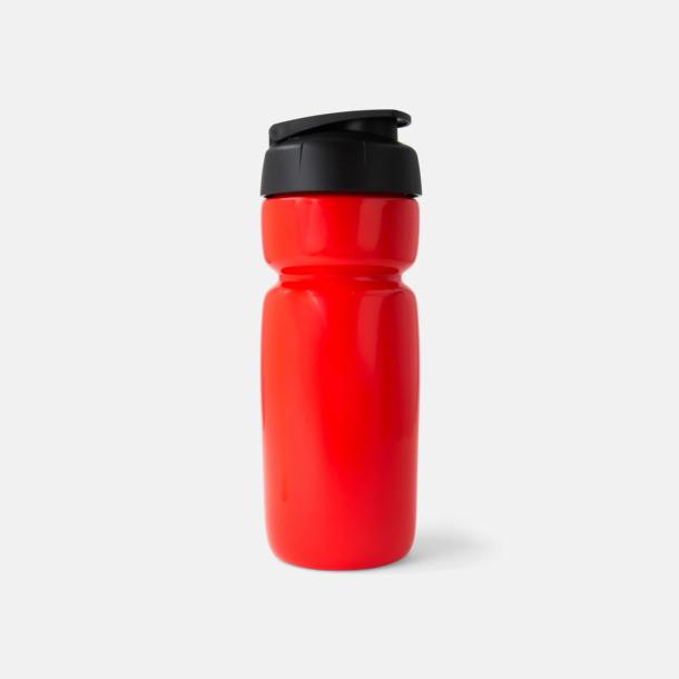 Solid Röd (flaska)/Svart (kork) Sportiga vattenflaskor med flipkapsyl med reklamtryck