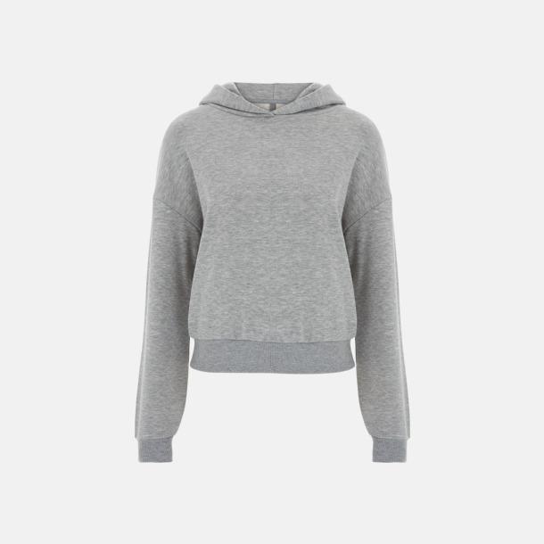 Ljusgrå Kortade dam huvtröjor med reklamtryck