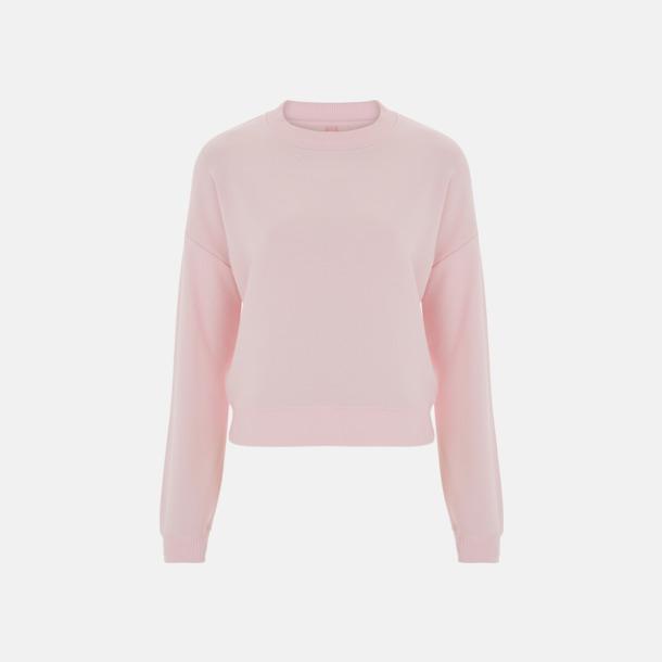 Ljusrosa Kortare damtröjor med reklamtryck