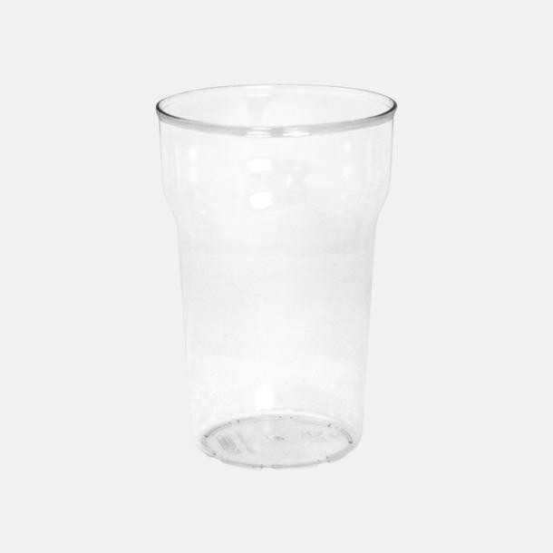 Transparent Ölglas i plast med reklamtryck