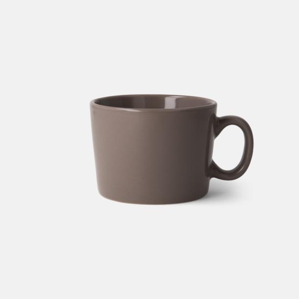Grå (Warm grey 8) Korta, runda muggar med reklamtryck