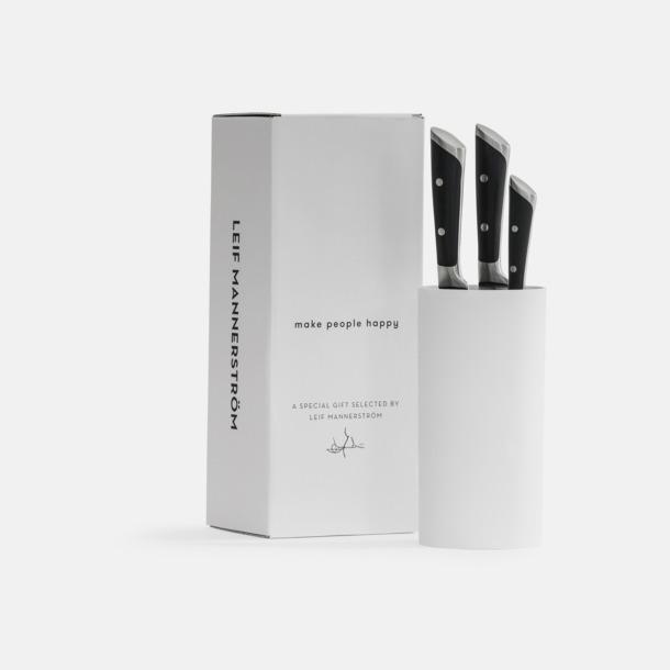 Vit 3-delars kock knivset med knivblock från Selected by Leif Mannerström
