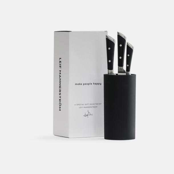 Svart 3-delars kock knivset med knivblock från Selected by Leif Mannerström