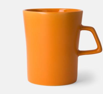 Orange Unika stengodsmuggar med reklamtryck