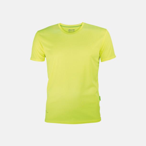Neon Yellow (herr) Tränings t-shirts i återvunnet material med reklamtryck