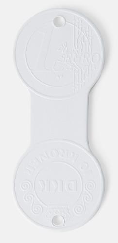Vit (10 DKK/1 €) Euromynt och krona på samma pollett med reklamtryck