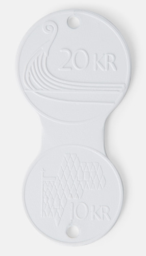 Vit (20 NOK/10 NOK) Euromynt och krona på samma pollett med reklamtryck