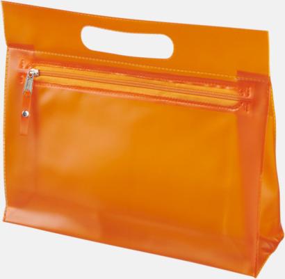 Orange Genomskinliga necessärer med reklamtryck
