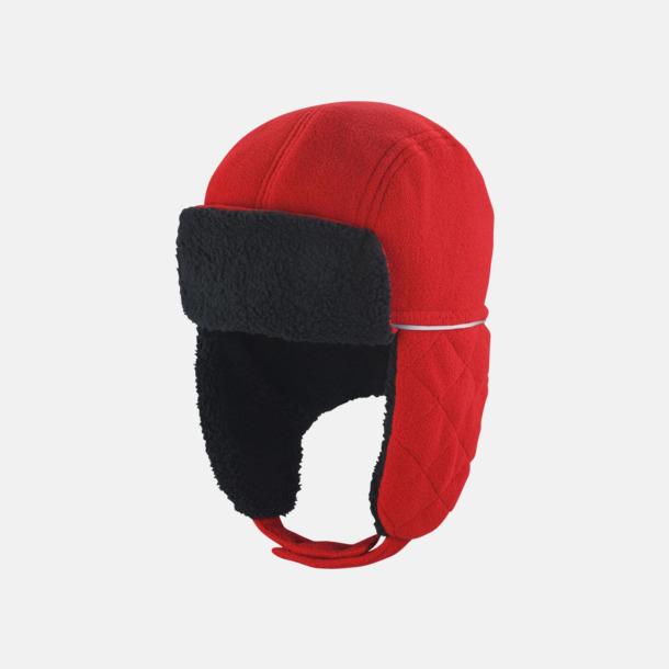 Röd/Svart (endast vuxen) Faux pälsmössor för vuxna & barn - med reklamlogo