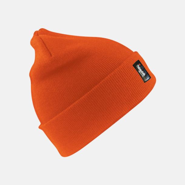 Fluorescerande Orange (vuxen) Varma vintermössor för vuxna & barn med reklamlogo